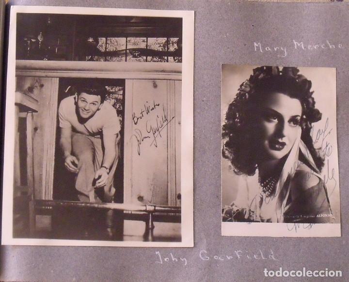 Cine: Álbum autógrafos estrellas Hollywood años 40. Johnny Weissmüller, Glen Ford, Bing Crosby, etc. - Foto 20 - 189938211