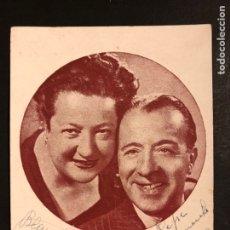 Cine: TARJETA CON AUTÓGRAFO DE MIGUEL LIGERO Y BLANCA POZA 14 X 11 CM. Lote 194906645