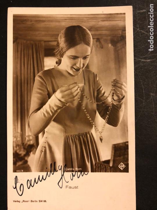 TARJETA CON AUTÓGRAFO DE CAMILLA HORN.FAUSTO.MURNAU 14 X 8,5 CM (Cine - Autógrafos)