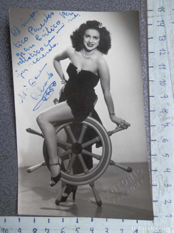 DEDICATORIA MANUSCRITA FOTOGRAFÍA AÑO 1950 Mª CARMEN ALVARADO - VEDETTE (Cine - Autógrafos)