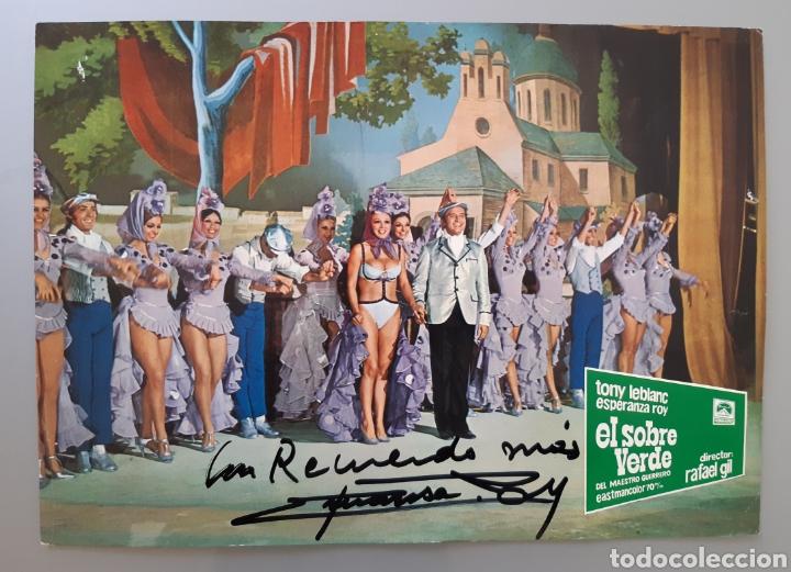 """AUTÓGRAFO DE LA ACTRIZ ESPERANZA ROY EN FOTOCROMO DE LA PELÍCULA """" EL SOBRE VERDE """" AÑOS 70 . (Cine - Autógrafos)"""