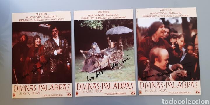 AUTÓGRAFO DE LA ACTRIZ ESPERANZA ROY EN TRES FOTOCROMO DE LA PELÍCULA DIVINAS PALABRAS . (Cine - Autógrafos)