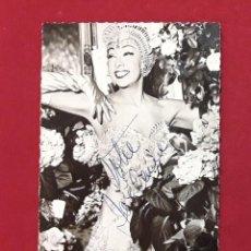 Cine: JOSÉPHINE BAKER, AUTÓGRAFO EN FOTO/POSTAL TEATRO OLIMPIA DE PARIS 1956.DIA DESPEDIDA. Lote 224241601
