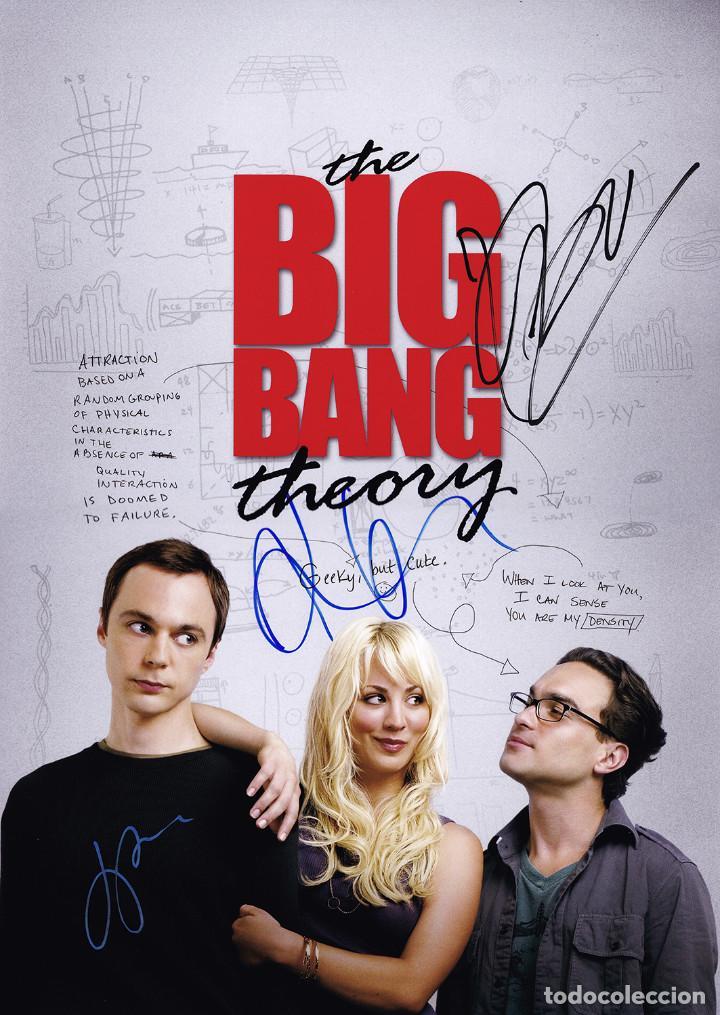 JIM PARSONS, KALEY CUOCO, JOHNNY GALECKI SIGNED THE BIG BANG THEORY 11X12 POSTER (Cine - Autógrafos)