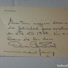 Cinema: FELICITACION NAVIDEÑA DE LA ACTRIZ ANA MARISCAL 1977 CON SU FIRMA/AUTOGRAFO. Lote 255357780