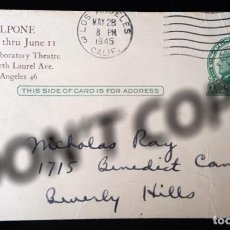 Cine: INVITATION-POSTCARD FROM JEAN EVANS TO NICHOLAS RAY FOR IL VOLPONE PREMIERE. BELONGED TO NICK RAY.. Lote 257629720