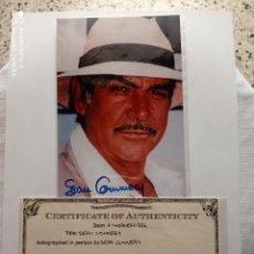 Cine: FOTO AUTOGRAFO DE SEAN CONNERY EL PRIMER JAMES BOND 007 CON CERTIFICADO DE AUTENTICIDAD 20-09-2007. Lote 269230983