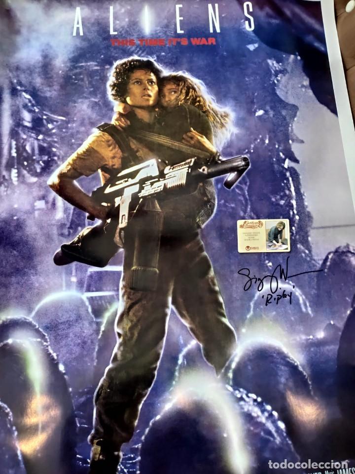 Cine: Sigourney Weaver Fundido Firmado Poster de Alienígenas 26.5x38.5 1986 autografo a mano certificado - Foto 4 - 269755688
