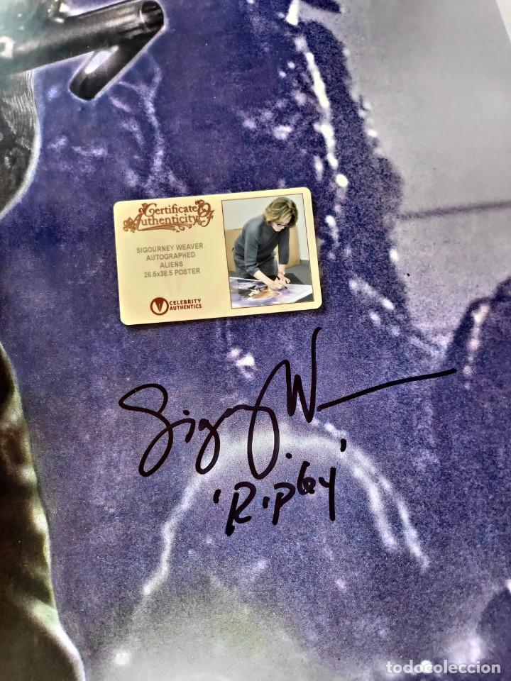 Cine: Sigourney Weaver Fundido Firmado Poster de Alienígenas 26.5x38.5 1986 autografo a mano certificado - Foto 5 - 269755688