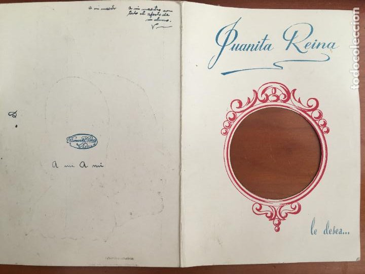 Cine: juanita reina felicitacion original con autografo y dedicatoria año 1952 troquelada - Foto 2 - 278460238