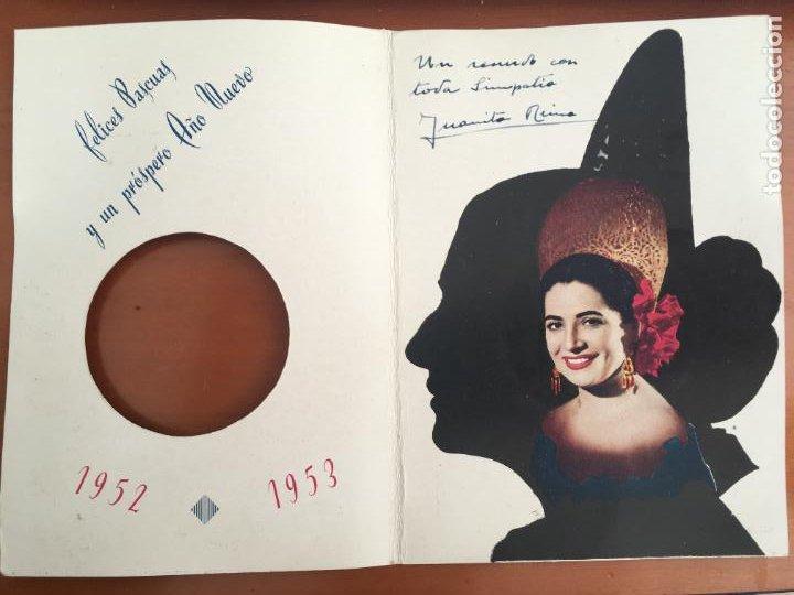 Cine: juanita reina felicitacion original con autografo y dedicatoria año 1952 troquelada - Foto 3 - 278460238