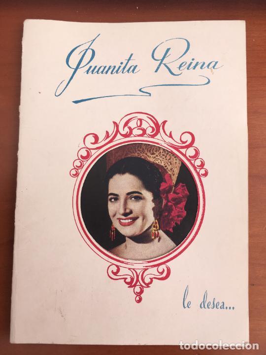 JUANITA REINA FELICITACION ORIGINAL CON AUTOGRAFO Y DEDICATORIA AÑO 1952 TROQUELADA (Cine - Autógrafos)