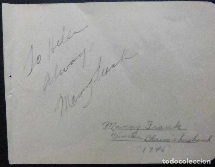 Cine: Autografo de Manny Frank firma en página de álbum cortada/ 1946 (esposo de Vivian Blaine) - Foto 3 - 287857383