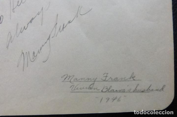 Cine: Autografo de Manny Frank firma en página de álbum cortada/ 1946 (esposo de Vivian Blaine) - Foto 5 - 287857383