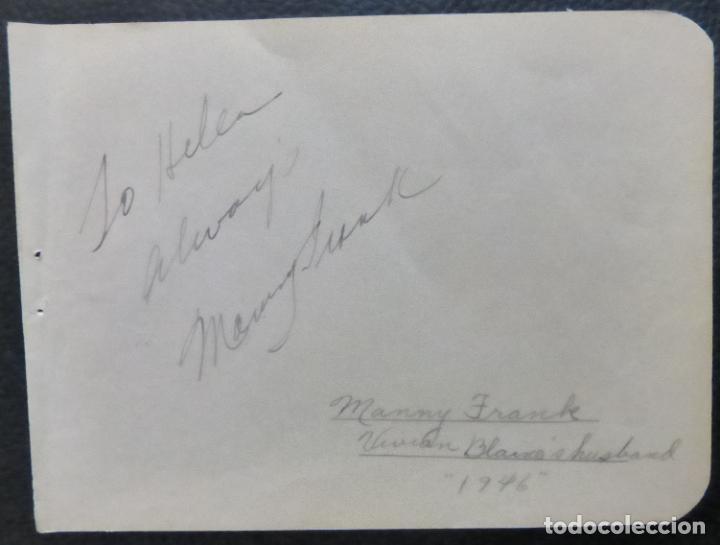 Cine: Autografo de Manny Frank firma en página de álbum cortada/ 1946 (esposo de Vivian Blaine) - Foto 6 - 287857383