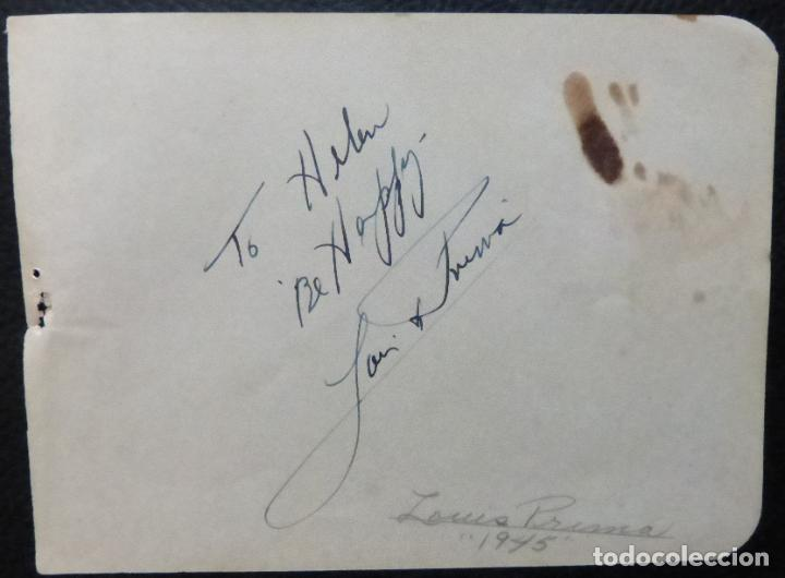 Cine: Autografo de Louis Prima firmado 5-1 / 2 x 5 página de álbum de corte 1945. - Foto 4 - 287859123