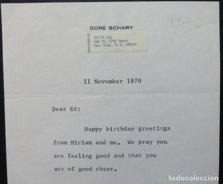 Cine: Autografo en Carta firmada de Dore Schary, 11 de noviembre de 1970, al Sr. Edwin Knopf - Foto 2 - 287954168