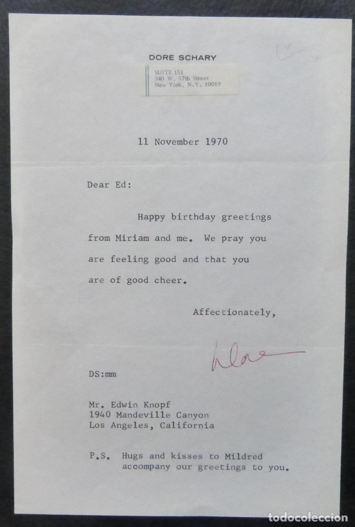 Cine: Autografo en Carta firmada de Dore Schary, 11 de noviembre de 1970, al Sr. Edwin Knopf - Foto 4 - 287954168