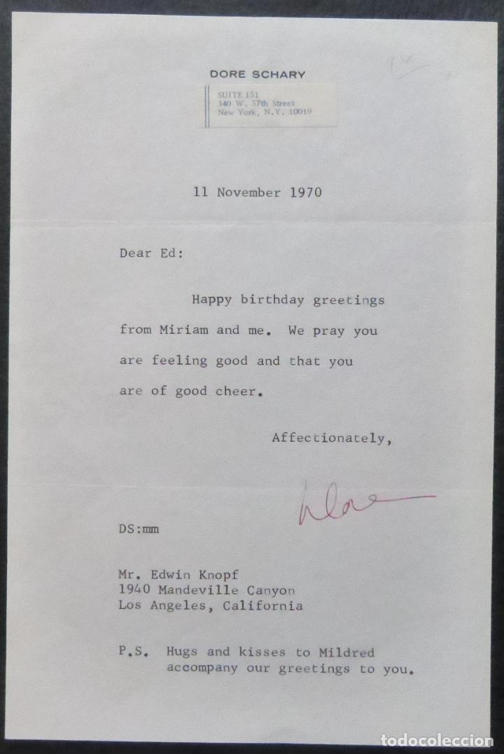 Cine: Autografo en Carta firmada de Dore Schary, 11 de noviembre de 1970, al Sr. Edwin Knopf - Foto 7 - 287954168
