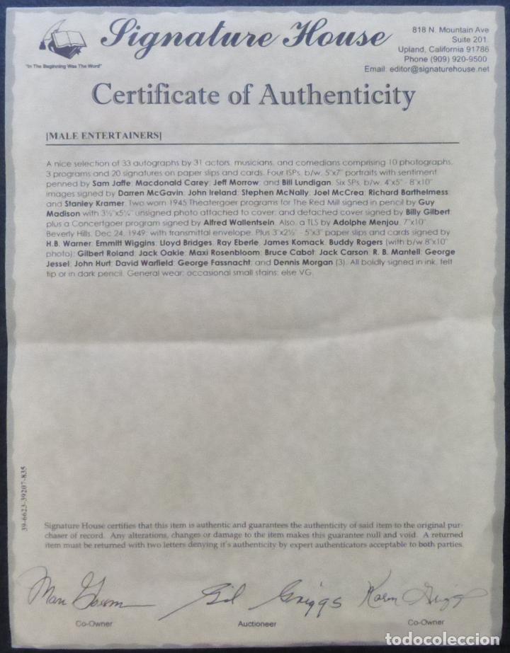 Cine: Autografo de Dennis Morgan Papel firmado con tinta negra (actor y cantante estadounidense) - Foto 8 - 289267088