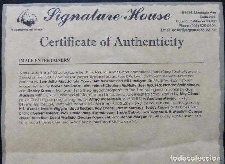 Cine: Autografo de Dennis Morgan Papel firmado con tinta negra (actor y cantante estadounidense) - Foto 9 - 289267088