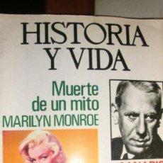 Cine: MARILIN MONROE ,SU MUERTE REVISTA HISTORIA Y VIDA. Lote 35634842