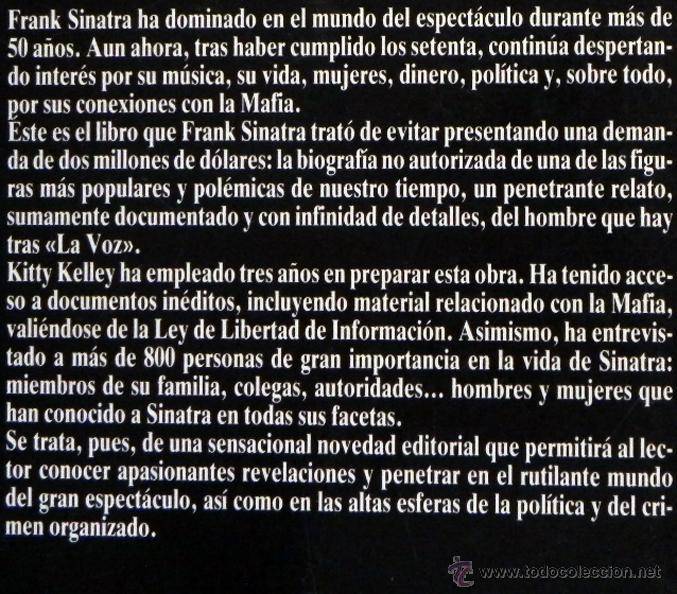 Cine: A SU MANERA - KITTY KELLEY - BIOGRAFÍA FRANK SINATRA CANTANTE ACTOR DE CINE EEUU- MÚSICA FOTOS LIBRO - Foto 2 - 48910123