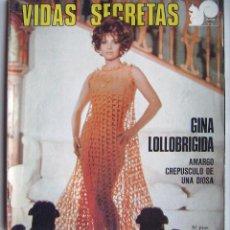 Cinéma: GINA LOLLOBRÍGIDA. REVISTA VIDAS SECRETAS. 96 PÁGINAS. 1975.. Lote 122921599