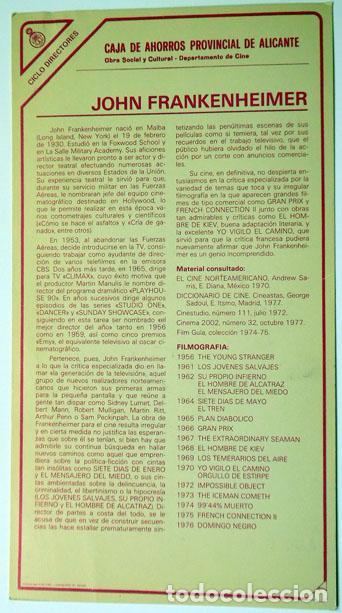CINE ALICANTE FICHA TÉCNICA JOHN FRANKENHEIMER DIRECTOR CAJA AHORROS PROVINCIAL, AÑOS 80 15X27 CM (Cine - Biografías)