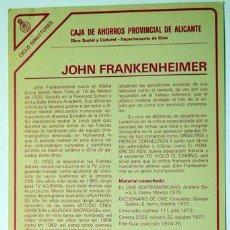 Cine: CINE ALICANTE FICHA TÉCNICA JOHN FRANKENHEIMER DIRECTOR CAJA AHORROS PROVINCIAL, AÑOS 80 15X27 CM. Lote 151772378