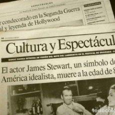 Cine: MUERE JAMES STEWART (NOTICIA DE PRENSA ORIGINAL JUL 1997) LA VANGUARDIA (SOLO 2 HOJAS DEL REPORTAJE). Lote 160852670