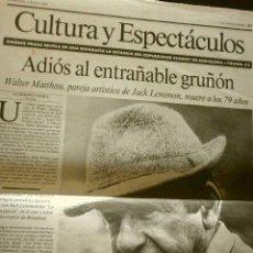 Cine: MUERE WALTER MATTHAU (NOTICIA DE PRENSA ORIGINAL JUL 2000) LA VANGUARDIA (SOLO 1 HOJA DEL REPORTAJE). Lote 160855650