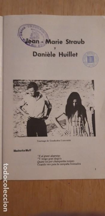 Cine: 1 FOLLETO DE **.JEAN MARIE STRAUB Y DANIELE HUILLET . ** .FILMOTECA NACIONAL DE ESPAÑA 1973 - Foto 3 - 194089037