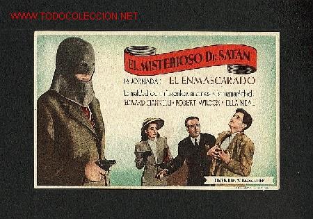 EL MISTERIOSO DR.SATAN (1ª JORNADA: EL ENMASCARADO) (Cine - Folletos de Mano - Terror)