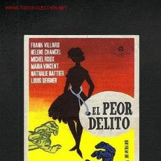Cine: EL PEOR DELITO. Lote 912528