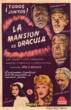 LON CHANEY - LA MANSION DE DRACULA - CIFESA - FRANKENSTEIN - HOMBRE LOBO - ELSA LANCHESTER (Cine - Folletos de Mano - Terror)