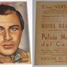 Cine - ANTIGUO PROGRAMA DE MANO ORIGINAL DE GARY COOPER EN POLICIA MONTADA DEL CANADA - 10797224