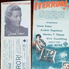 Cine: ANTIGUO PROGRAMA DE MANO TERROR DOBLE Y ORIGINAL AÑOS 40. Lote 10797227