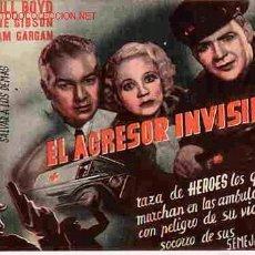 Folhetos de mão de filmes antigos de cinema: EL AGRESOR INVISIBLE AÑOS 30 , PMD. Lote 266546883
