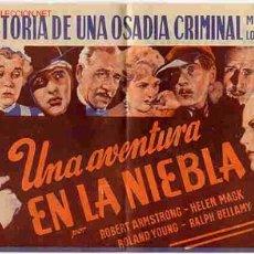 Cine: UNA AVENTURA EN LA NIEBLA , AÑOS 30 , DOBLE , PMD. Lote 201477232