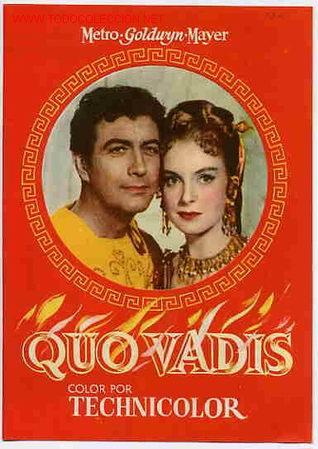 QUO VADIS , PROGRAMA DOBLE , TROQUELADO , PMD (Cine - Folletos de Mano - Bélicas)