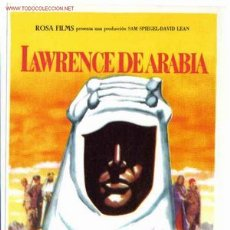 Foglietti di film di film antichi di cinema: LAWRENCE DE ARABIA SENCILLO , SIN CINE , ORIGINAL , PMD 49. Lote 201478018