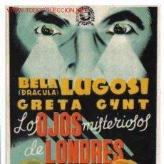 Cine: LOS OJOS MISTERIOSOS DE LONDRES BELA LUGOSI PMD 56. Lote 210607002