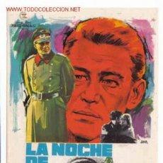 Cine: LA NOCHE DE LOS GENERALES , SENCILLO , PMD 67. Lote 210607123