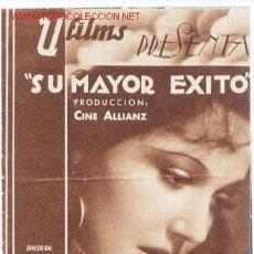 Cine: PROGRAMA.SU MAYOR EXITO.DOBLE CON PUBLICIDAD. Lote 4981343