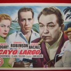 Cine: PROGRAMA DE CINE, CAYO LARGO, HUMPHREY BOGART / EDWARD G. ROBINSON / LAUREN BACALL . Lote 122431500