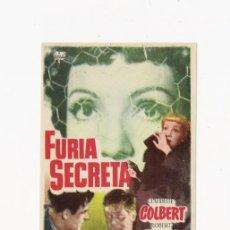 Cine: FURIA SECRETA, PROGRAMA ORIGINAL. Lote 95966163