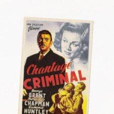 Cine: CHANTAGE CRIMINAL, PROGRAMA ORIGINAL. Lote 3504931