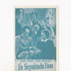 Cine: LA SEPULTADA VIVA, PROGRAMA ORIGINAL, ERROR DE IMPRENTA. Lote 3560193