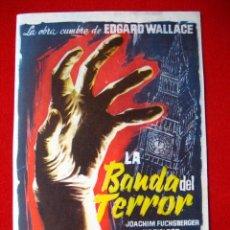 Cine: PROGRAMA DE CINE, LA BANDA DEL TERROR, DE EDGARD WALLACE. Lote 3604251